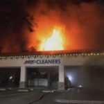 Burning strip mall