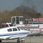 Smoke from burning plane