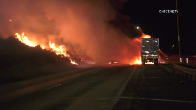 Flames from big rig fire