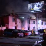 Smoke from burning residential hotel