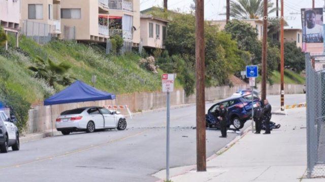 Crash scene in Monterey Park