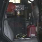 Gasoline tank inside suspicious vehicle