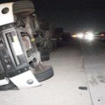 Trucks overturned by high wind