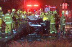 Paramedics assist crash victims
