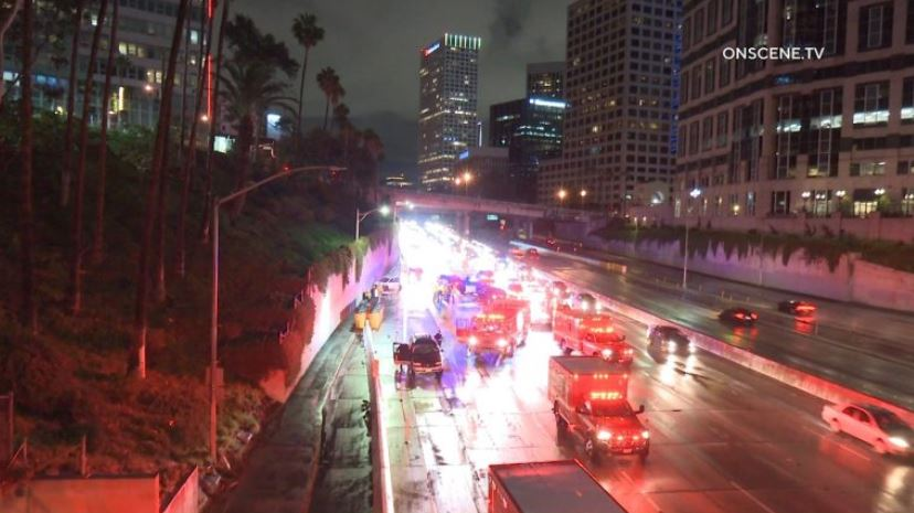 Emergency vehicles at the scene of the crash