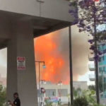 Flames from downtown LA fire