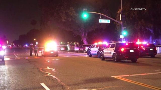 Fullerton Police cruisers at the scene of the shooting