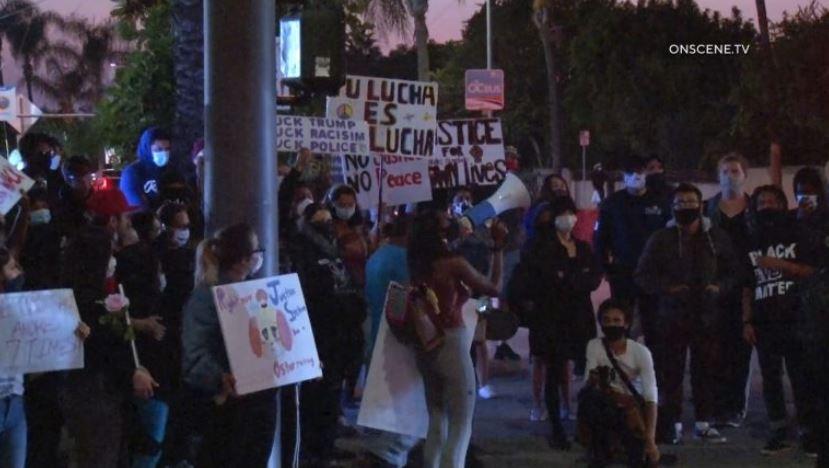 Protesters in Santa Ana