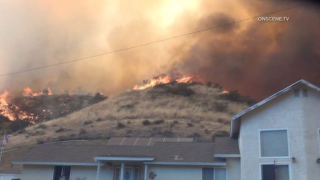 Flames from Soledad Fire