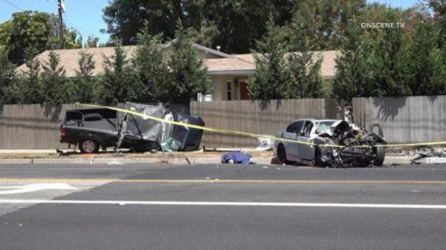 Wreckage from street racing crash
