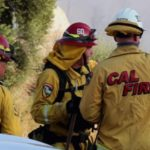 Cal Fire personnel at scene of wildfire