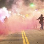 Tear gas in downtown Los Angeles