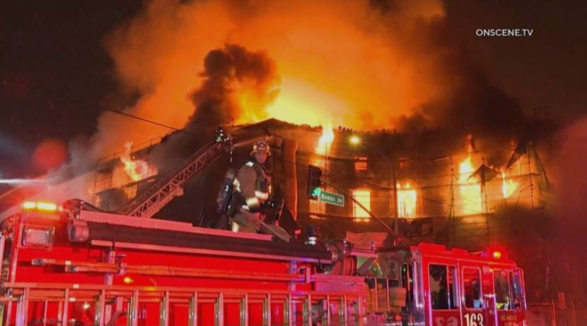 Apartment fire in East Los Angeles