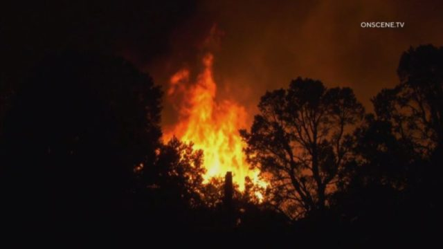 Flames from the Bobcat Fire