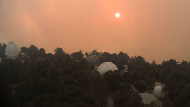 Flames and smoke approach the Mt. Wilson Observatory