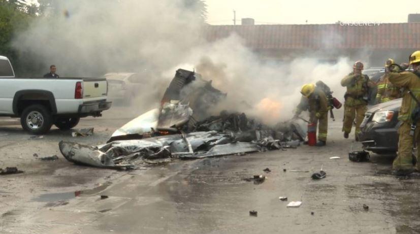 Wreckage of plane in Van Nuys