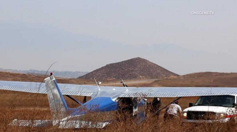 Plane lands near Lake Matthews