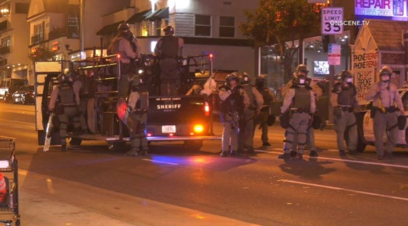Sheriff's deputies at the scene of protest