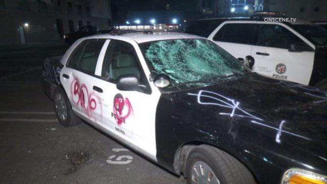 Vandalized police cruiser