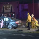 Wreckage of sedan in Gardena crash