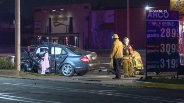 Wreckage of sedan in Gardena crash