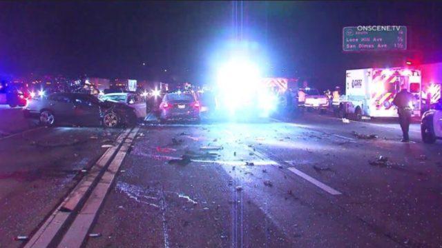 Emergency vehicles at scene of crash in Glendora