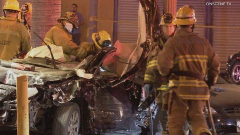 Paramedics at street racing crash