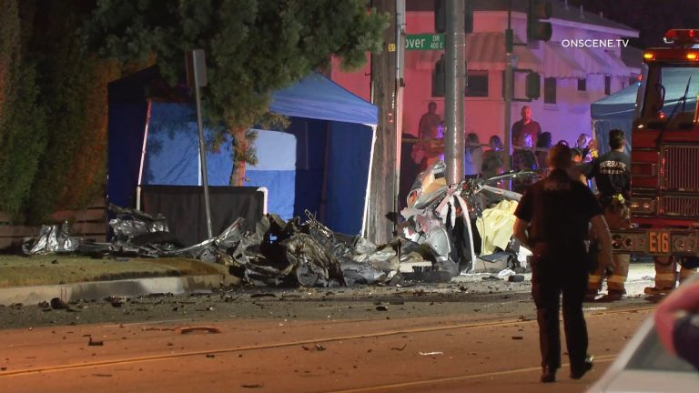 Wreckage from collision in Burbank